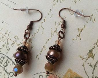 Item 184    Freshwater Pearl & Glass Bead Dangle Earrings