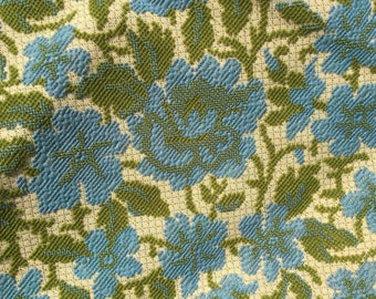 Vintage blue avocado green upholstery fabric scrap floral pattern loop