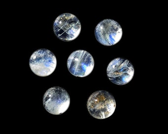 25MM Round Shape, Rainbow Moonstone Cabochon Lot, Wholesale Lot For Making Jewelry, Blue Fire, White Moonstone, Wholesale Lot, AG-222