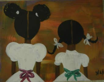 Black Art Original African American painting signed by Valencia