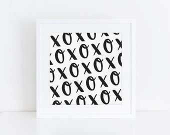 5x5 PRINTABLE | XOXO Lettered Art | Black and White