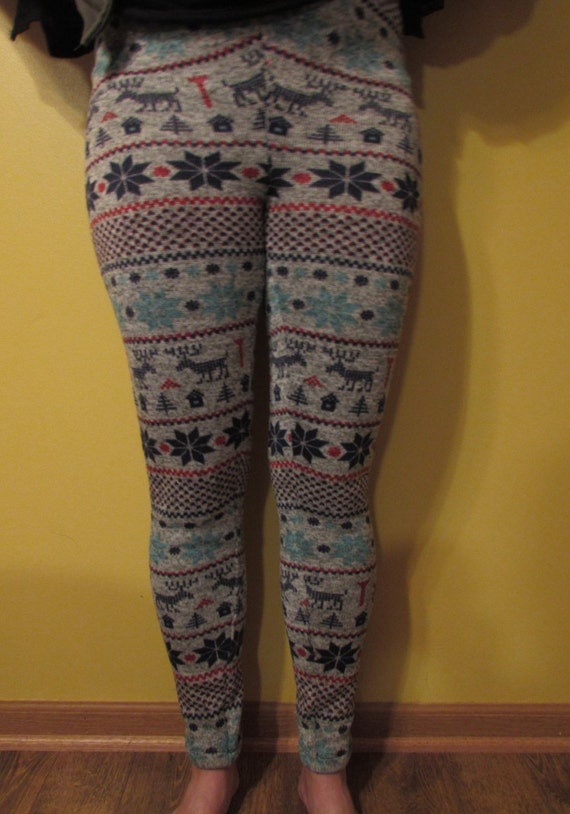 Womens leggings / womens warm leggings / sweater fleece leggings / three prints /  winter leggings