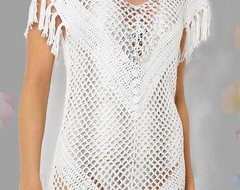 Stunning Crochet Dress with Fringe Hem White Summer Fashion Swimsuit Cover Slim Look