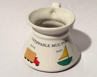Vintage 1980s Boynton Untippable Mug for Boat, Truck, Car, Klutz, So Cute! Recycled Paper Products