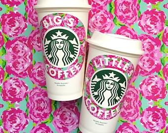 Sorority, Bid Day, Big Little Gift, Personalized Starbucks Cup, Coffee, Monogrammed