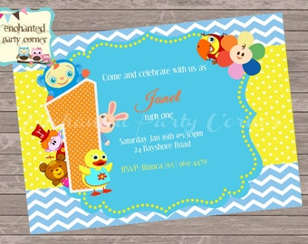 Peek A Boo Baby First Baby Inspired Birthday Invite for Cute Baby