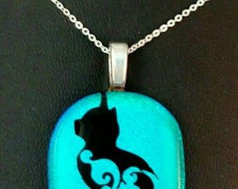 Pretty Kitty Dichroic Glass Pendant,Dichroic Glass Cat Pendant, Blue Dichroic Cat Necklace
