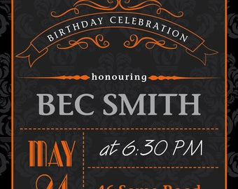 Birthday Invite 18th 21st 30th 40th 50th 60th 70th 80th, personalised invitation Printable, DIY, Invites, Download