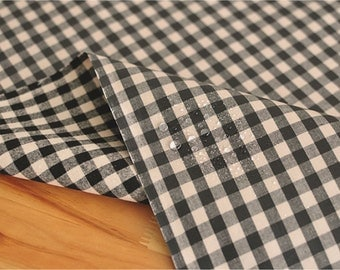 Laminated Cotton Fabric 1 cm Black Plaid By The Yard