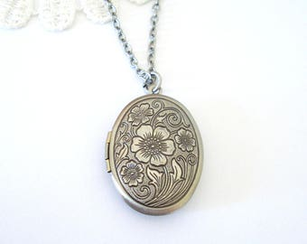 Silver Poppy Locket, Antiqued Silver Locket, Floral Locket, Flower Jewelry, Gift for Her