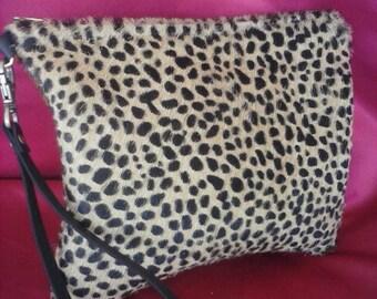 Leather leopard cheetah clutch BBsCustomClutches wristlet crossbody clutch hair on crossbody leather crossbody leather wristlet