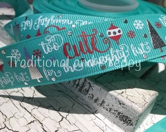 "7/8"" Christmas Too Cute for The Naughty List tropic silver tree grosgrain"