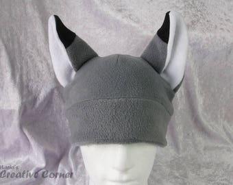 Grey Fox Fleece Hat - Cute Cosplay Beanie  Adult Teen Clothing
