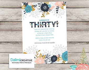 30th Birthday Invitation - Birthday Invitation - Blue Floral Invitation - Floral Invitation - Adult Birthday - Elegant Printable Invitation!