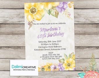 60th Birthday Invitation - Floral Birthday Invitation - Purple and Yellow Invitation - Surprise Birthday Party - Printable Invitation!
