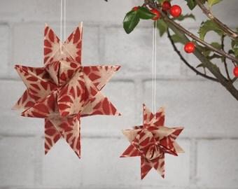 """Christmas Tree Ornament- Red and White Star """"Julestjerner"""" Danish Christmas Stars"""