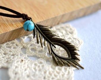 Bronze Feather Pendant Necklace, Bronze Feather Necklace