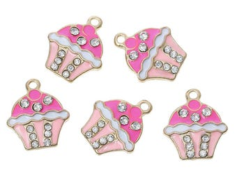 2 Cupcake Pendants Cake Charm Pink White Icing Clear Rhinestones Enamel Dessert Charms 4334