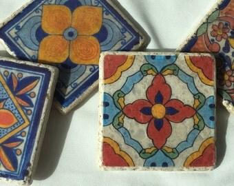 Mexican Flor Stone Coaster Set