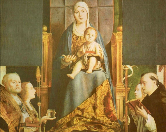 Vintage 1966 print of Madonna and Child with Saints, painted by Antonello in 15th century, beautiful details, matted & mounted, 11 x 14 ins