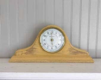 Mantel Clock Hand Painted french country primative rustic distressed