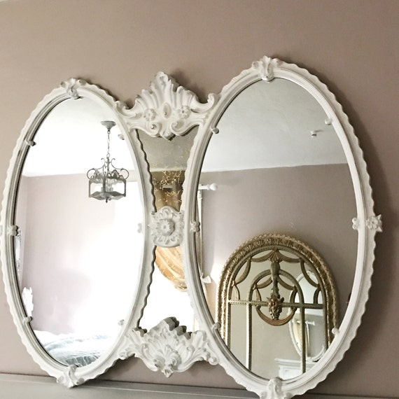 Large oval baroque mirror bathroom vanity white distressed for Baroque oval mirror