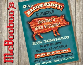 Rustic Bacon Party Poster with bacon pig invitations
