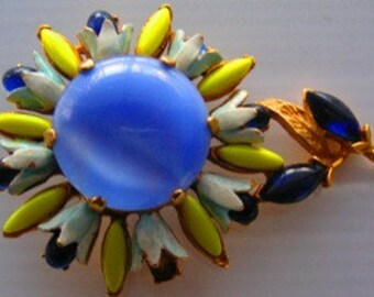 VINTAGE FLORENZA Enamel Flower Brooch