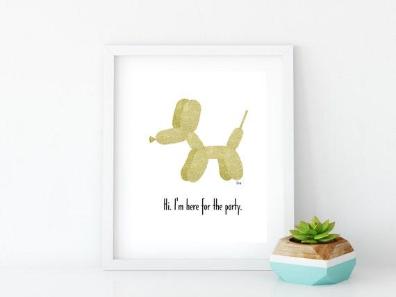 Golden Balloon Dog Art Print, Instant Digital Download