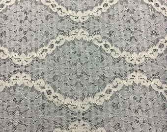 """Lace fabric White wedding Lace / ivory white 59"""" wide white Wedding Lace Fabric,cotton  lace fabric-1YARD"""