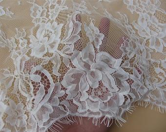"59"" eyelash rose black lace fabric  , Chantilly Eyelash white Lace Fabric by yard   for Wedding Gowns, Bridal Veils, Mantilla, Costumes"