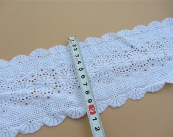 White Cotton Trim Vintage Linen Dainty Tiny Floral Embroidery White Fine Lawn Trim Broderie Anglaise Doll Dress material