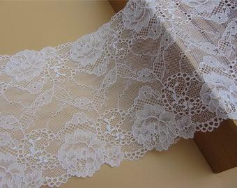 bras lace,pure white wedding lace,Stretch Lace Trim - Extra Wide black Lace Trim, 17.5 cm Wide Lace Trim,lingerie lace,