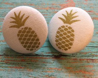Pineapple Vintage Style Button Earrings