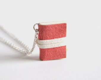 Miniature Book Necklace, Little Book, Book Charm, Small Journal, Book Lover, Handmade Book, Tiny Book, Girls Gift, Love Notes, Pink Leather