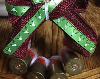 reindeer and burgandy red ribbon shotgun shell wreath ornament