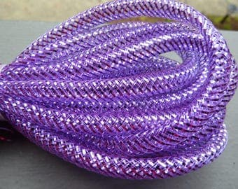 "Mini Metallic purple Tubular Crin Cyberlox 1/4"" 5 Yards Ribbon Crinoline hair"