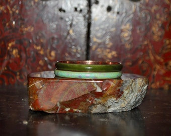 1950s Vintage Matisse Renoir Set of Two Enamel Green Colored 1/2 Inch Thick Bangles
