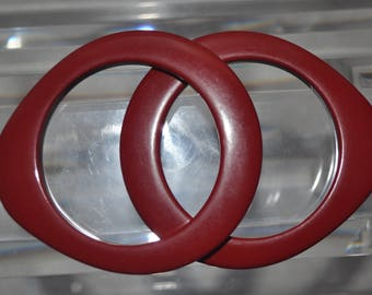 1960s, Set of Two Dome Shaped Bangles in a Deep Cherry Red Color, Mint Condtion
