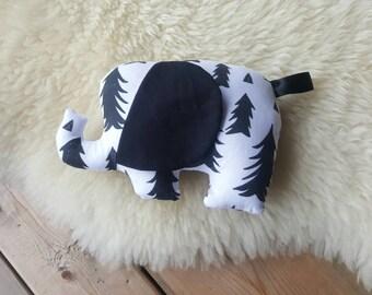 Elephant Stuffed Animal, Elephant Plush Toy, Black Pine Trees Soft Elephant Toy, Gender Neutral Baby Shower Gift, Up North Elephant