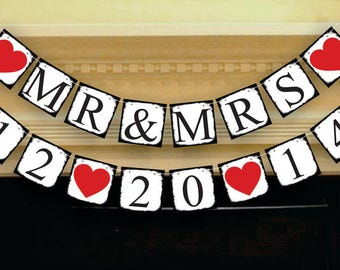 Bridal Shower Banner - Mr Mrs & Save The Date Banner - Customize Your Date - Wedding Sign