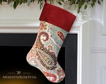 SALE! Paisley Christmas Stocking, Paisley Stocking, Red Christmas Stocking, Red Stocking, Red Christmas, Velvet Christmas Stocking
