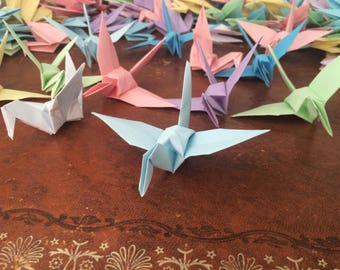 Origami Paper Cranes 9cm X 100 Pastel Colour Mix - Origami Birds - Folded Paper Birds - Wedding Decoration - Baby Shower - Paper Decorations