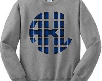 Monograms, Plaid, Sweatshirts, School Spirit, Custom, Blue Plaid, Hoodies, Shirts, Red, S