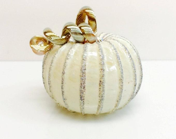 SALE ~ Hand Blown Glitter Pumpkin