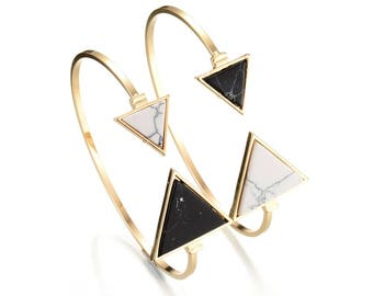 Marble Geometrical Triangle Bangle Cuff