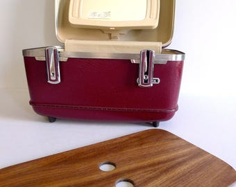 Vintage American Tourister Train Case with Interior Handmade Walnut Shelf