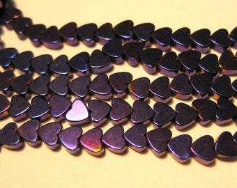 1 Strand Small Iris Purple Heart Hematite Beads Non-magnetic 4mm stone beads