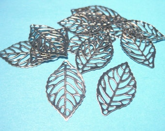 Silver Tone Filigree Leaf Charms Pendants 23x13mm