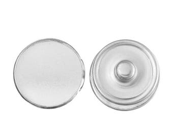 "20mm Silver Tone Round Snap Buttons Cabochon Settings (Fits 18mm ) Knob Size: 5.5mm( 2/8"")"